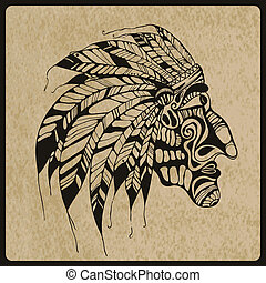 Vector Tattoo, Native American Indian chief - Vector hand...