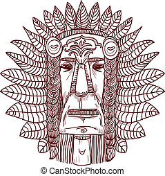 vector tattoo with indian face - illustration - vector...