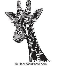 vector, tatuaje, cabeza, t-shirt., bosquejo, ilustración, jirafa, animal, design.