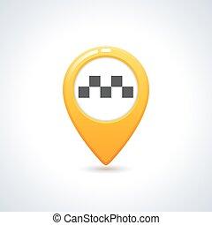 Vector taxi icon. Map pin with taxi checks sign. Vector ...