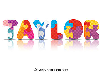 Vector TAYLOR written with puzzle - TAYLOR written with ...