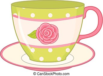 Vector tea cup with saucer. Tea cup decorated with polka dot and rose. Teacup with saucer vector illustration