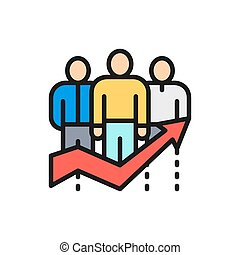 Vector team efficiency, company workers with big arrow flat color line icon