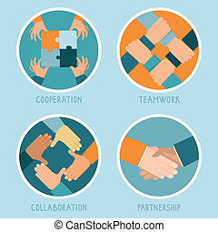 Vector teamwork and cooperation concept in flat style -...
