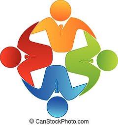 Vector teamwork business logo - Teamwork concept of...