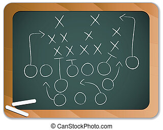 Teamwork Football Game Plan Strategy on Blackboard - Vector...