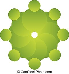 Vector teamwork green people logo