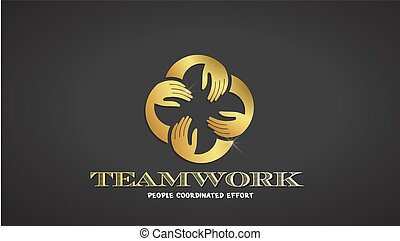 Vector Teamwork Hands Logo Template. Gold color