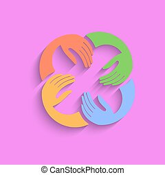 Vector Teamwork Hands Logo Template. Pink Background