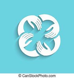 Vector Teamwork Hands Logo Template. White in blue Background