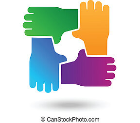 Vector teamwork hands people logo - Vector of teamwork hands...
