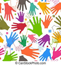 Vector Teamwork Happy Hands Seamless Pattern Background