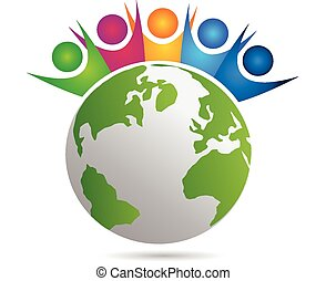 Vector teamwork of happy people concept of community, workers, unity, social global networking icon image template around world