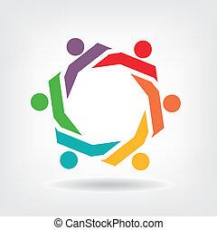Vector Teamwork Hexagon people