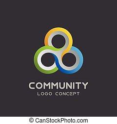 Vector teamwork logo Social network Logo design vector template 3d , team work Logotype . Partnership and Friendship . Community union group triple icon.