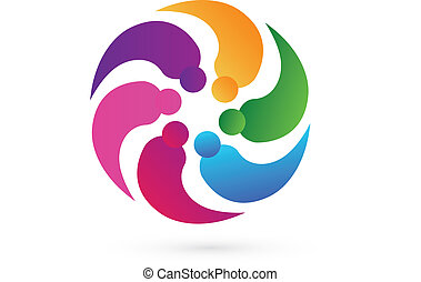 Vector teamwork partner people icon logo