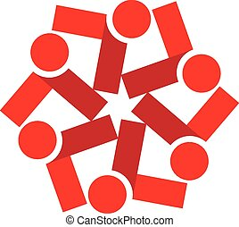 Vector teamwork red people logo