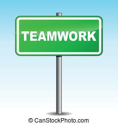 Vector teamwork signpost