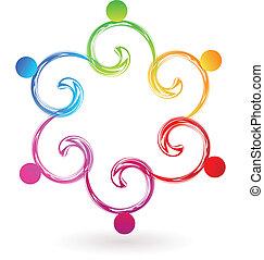 Vector teamwork swirly swoosh logo