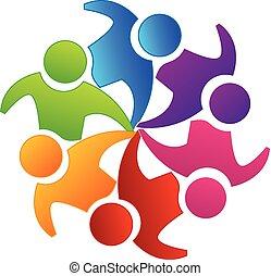 Vector teamwork unity logo - Vector teamwork concept of...