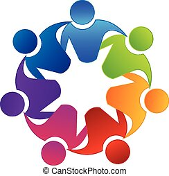 Vector teamwork concept of community, workers, unity, social networking icon image logo template