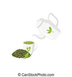 Vector teapot , mug of green tea and leaf tea set