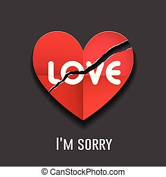 Vector Tear red paper heart, love message happy valentine's day