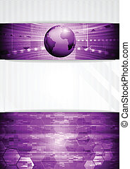 Vector tech background with globe