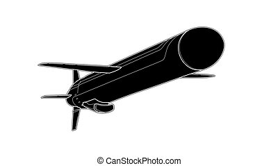 Vector tech draw illustration of cruise missile