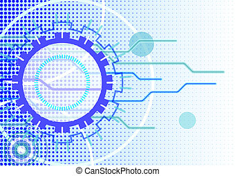 Vector technical abstract blue background with circle forms in horizontal format