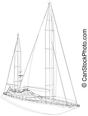 vector, technisch, illustratie, wire-frame., vertolking, yacht., 3d