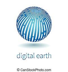 Vector techno logo - Techno logo. Vector earth globe, symbol...