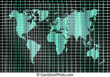 Vector technology background. World map and lines