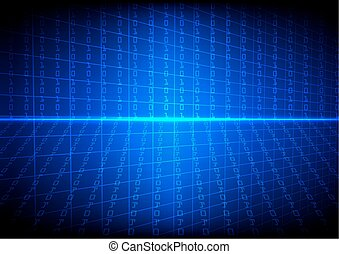 Vector technology  binary code with grid on blue  background
