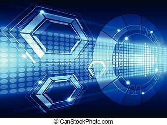 vector, tecnología, resumen, sistema, ilustración, plano de ...