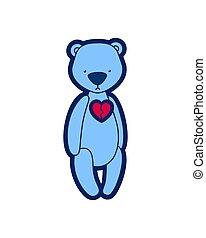 Vector teddy bear. Blue toy with broken heart.