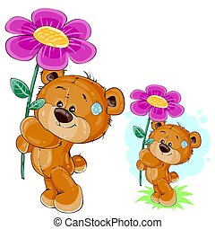 Vector teddy bear holding a pink flower in the paws.