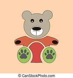 Vector teddy bear icon, flat design. bear dollv
