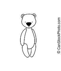 Vector teddy bear icon. Plush toy on white