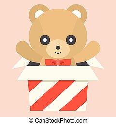 Vector teddy bear in a box