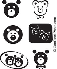 Vector teddy bear set