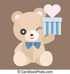 Vector teddy bear with gift, set 1