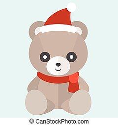 Vector teddy bear with hat