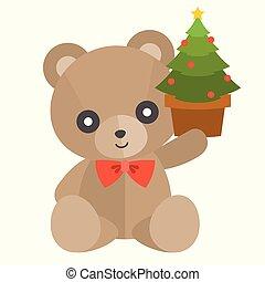 Vector teddy bear with present