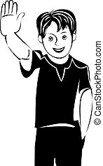 vector teen boy greet you and smiling - Teen boy raised his...