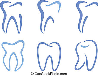 vector teeth - set of abstract teeth, vector illustration