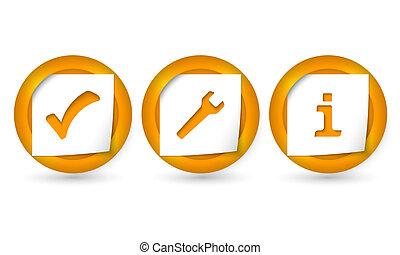 vector, tekens, set, drie, iconen