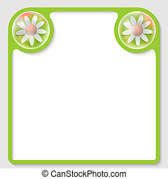 vector, tekst, frame, met, bloemen