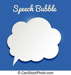 vector, tekstballonetje, op, blauwe achtergrond