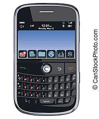 vector, teléfono celular, /, pda, /blackberry